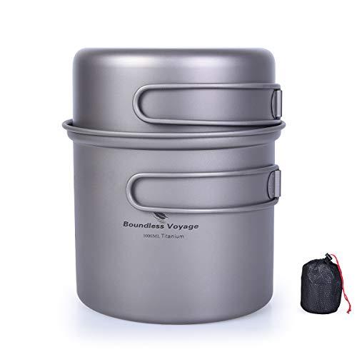 iBasingo Titan Topf Pfanne Set für 1 Person Camping Bowl Set Leichte Titankantine Outdoor-Kochgeschirr Koch-Mess-Kit mit Klappgriff 2 Stücke/Set Ti1502I