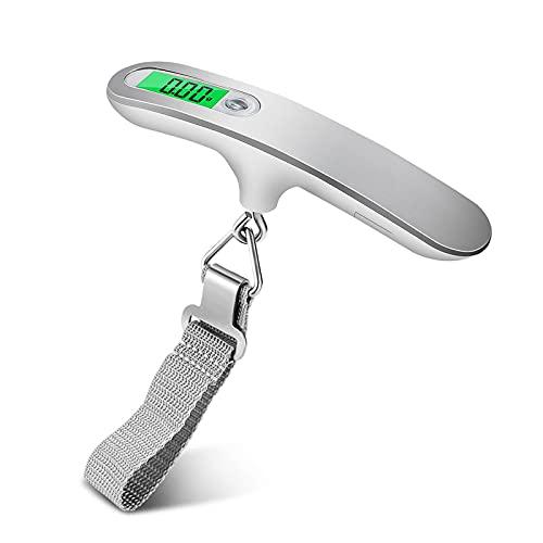 opamoo Bilancia pesa Valigie,Mini Bilancia con display LCD Bilancia Digitale con retroilluminazione e display della temperatura Bilancia Portatile capacità di 50 kg Bilancia per bagagli per viaggi