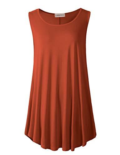 LARACE Women's Solid Flowy Tunic Top Sleeveless Shirt(L, Dark Orange)