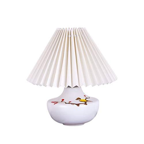 KJZhu Keramik Tischlampe, Plissee Lampenschirm Nachtlicht blau rosa weiß E14 24 × 24 × 28cm Tischlampe Kinderzimmer Nachttisch Ambient Light Schlafsaallampe (Color : White, Size : 24 * 28cm)