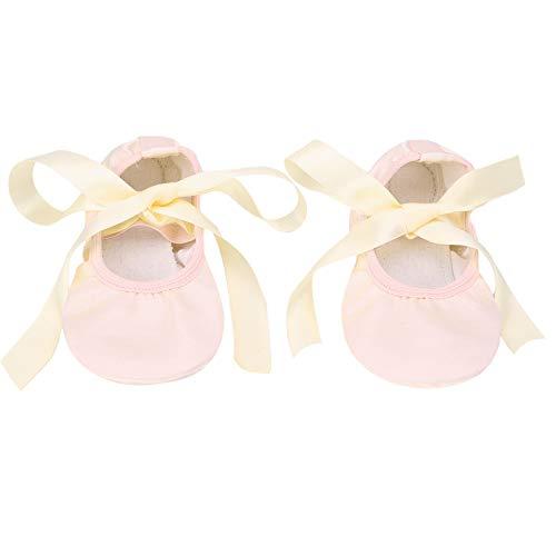 iiniim Zapatos de Ballet Satén Zapatillas de Ballet de Danza Baile Zapatillas de Gimnasia Suela Partida con Cinta para Niños Niñas Mujeres Hombres Desnudo 10 M