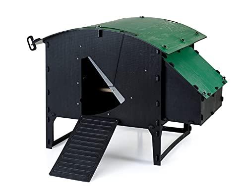 Green Frog Designs Gran gallinero con soporte – verde, jaula de gallina a prueba de zorro para aves de corral   plástico reciclado   capacidad de pollo 8 – 15   techo y puerta desmontables