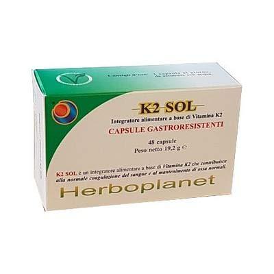 Herboplanet Integratore Alimentare K2 Sol, 48 Capsule