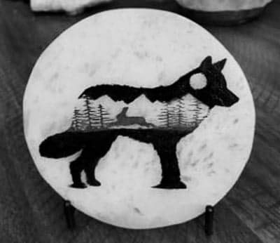 CrystalsAhoy Etched Selenite Wolf Charging Plate, Charging Station, Selenite Slab (Selenite, 3' Circle)