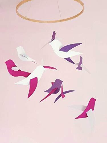 Móvil de bebé,de 10 Aves, rosa/blanco,Círculo, la madera,la Decoración, el pájaro,el nacimiento de Regalos,Móviles para la cuna