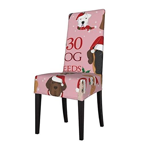 Juego de Fundas para sillas, Razas de Perros, Navidad, Invierno, Fundas para sillas Estampadas elásticas, Fundas para sillas Lavables, Protector, Funda de Asiento para sillas