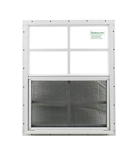 "Shed Window 18"" X 23"" White J-Channel Mount, Safety/Tempered Glass Storage Shed, Playhouse"