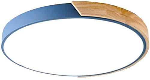Ronde Led Hout Metalen Plafondlamp Flush Mount, 16 inch 28 w Dimbare Plafondlamp Eenvoudige Plafondlamp Bevestiging Blauw-Afstandsbediening 40 cm