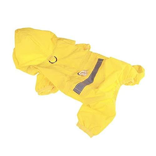 BGDRR Hunderegenmantel Welpenregenmantel Mit Kapuze Reflektierende wasserdichte Hundekleidung Weiche Atmungsaktive Haustier Katze Kleine Hunderegenbekleidung XS - 2XL (Color : Yellow, Size : XXL)