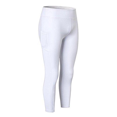 Mujer Deportes Leggings Quick Dry Yoga Workout unidad larga pantalones de mallas de fitness hankyky, primavera/verano, mujer, color Weiß, tamaño M(Tag Asian L)