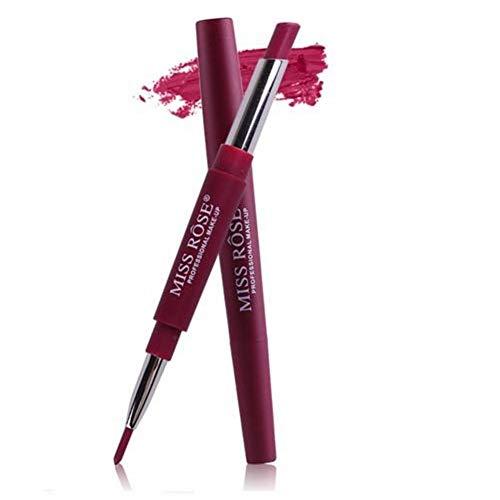 Crayon à lèvres 2 en 1 Rouge à lèvres à double tête Semi-mat Hydratant Imperméable à l'eau, Rouge à lèvres multifonctionnel et ne fond pas facilement avec un stylo à rouge à lèvres à une extrémité