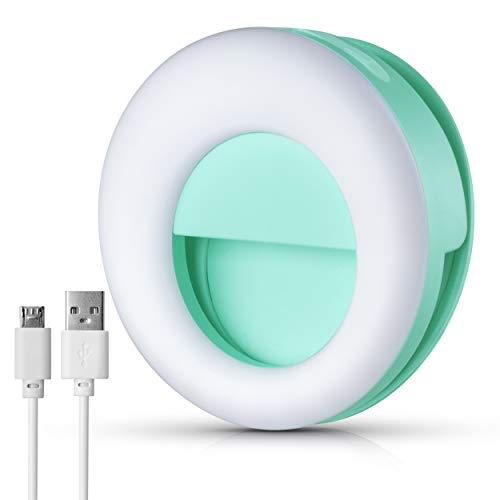 Selfie-Licht – USB wiederaufladbar mit 3 Helligkeits-Modi, Nachtlicht, 36 LED-Kamera-Ring-Licht, Handy-Clip für Mädchen, Make-up, Fotografie, Video, Instagram geeignet für Laptop und iPhone
