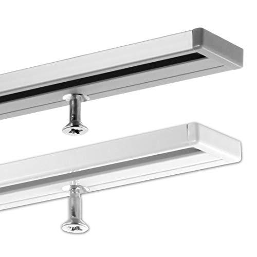 GARDINEUM 1,60 m Gardinenschiene, Aluminium, 1-läufig, vorgebohrt, weiß, glatte glänzende Oberfläche