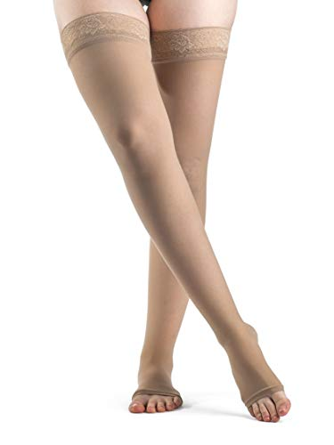 SIGVARIS Women's Style Sheer 780 Open Toe Thigh-Highs w/Grip Top 15-20mmHg