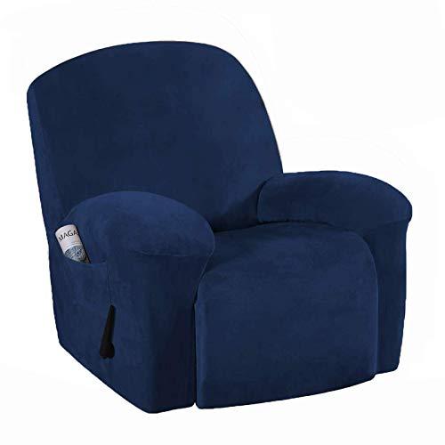 FSYGZJ Funda Protectora para Muebles de Terciopelo elástico de Felpa para sofá con Espuma Antideslizante, Funda de sofá Suave y Gruesa Funda elástica para Muebles (1 Plaza), Azul Marino