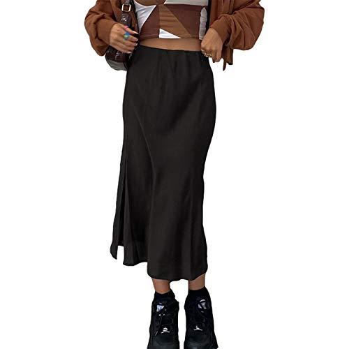 Gonne da Donna Gonna Longuette in Raso Boho Y2K Gonne Vintage E-Girl 90S Fashion Streetwear Gonna Maxi A-Line Gonne Lunghe Aderenti (Black, Small)