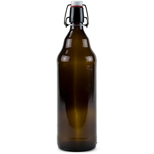 33 oz. Grolsch Glass Beer Bottles, Quart Size – Airtight Swing Top Seal Storage for Home Brewing of Alcohol, Kombucha Tea, Homemade Soda by Cocktailor (Single)
