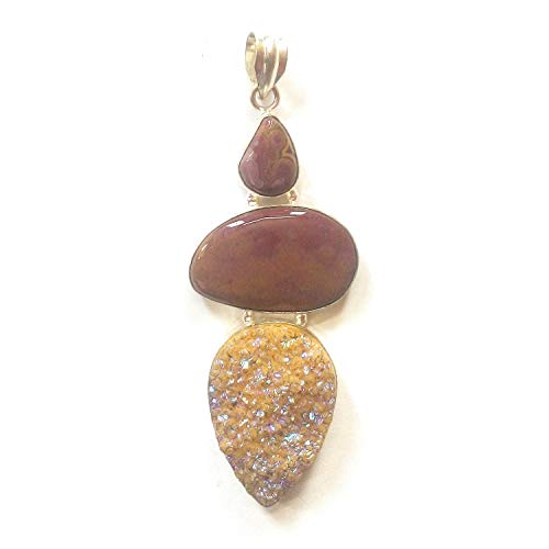 Jewelry Plaza 925 Silver Plated Titanium Druzy,Mokaite Gemstone Pendant Handmade Jewelry-Single Bail Cabochon Pendant ! (SF-49)…