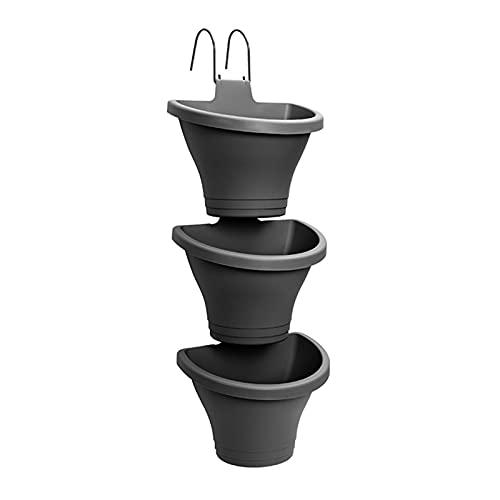 RTWAY - Fioriera verticale da appendere, 3 pezzi, in plastica, con ganci modulari da appendere, vasi da fiori da parete per giardino, decorazione domestica