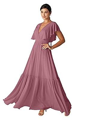 ALICEPUB V-Neck Bobo Desert Rose Bridesmaid Dresses for Women Long Chiffon Prom Maxi Dress with Flutter Sleeve, US8