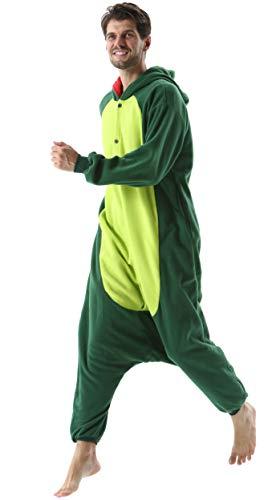 Pijama Animal Entero Unisex para Adultos con Capucha Cosplay Pyjamas Ropa de Dormir Kigurumi Traje de Disfraz para Festival de Carnaval Halloween Navidad Verde Dinosaurio