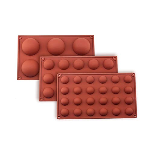 LWZZDZ - Molde esférico de silicona para repostería y repostería (color: juego)