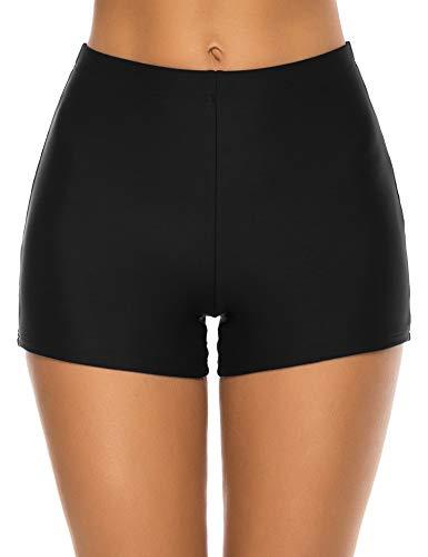 Lecieldusoir Damen Badeshorts Hohe Taille Badeanzug Boyshorts Bikini Tankini Badeanzug Boardshorts - Schwarz - Medium