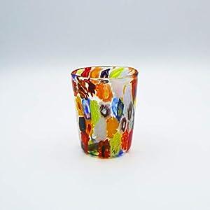 Vaso estilo Millefiori de cristal de Murano abierto a mano. Original Murano Glass. Fabricado en Italia (10 cm)