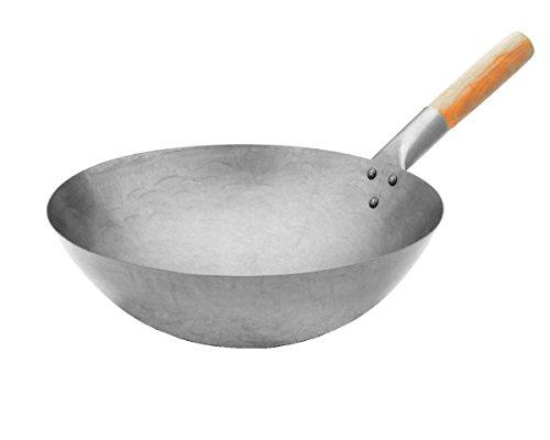 Euphoric Gifts®, grande wok professionale in acciaio al carbonio, stile cinese, resistente, adatto...