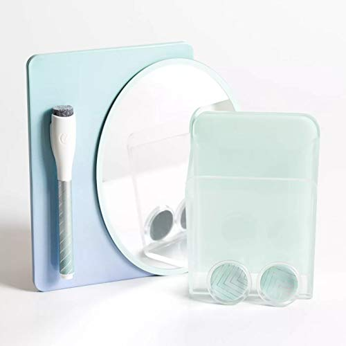 Magnetic Locker Accessory Kit Light Green Teal 5 Piece Set with Mirror - Cup - 2 Magnets - Dry Erase Board - Magnetic Dry Erase Marker