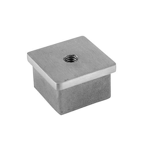 Cosch Edelstahl Endkappe mit Innengewinde M8 für Vierkantrohr (Rohranschluss 40 x 40 mm)