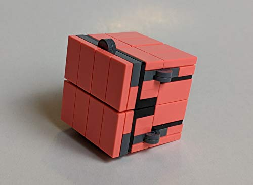 DIY Fidget Folding Infinity Cube Kit (Built with Coral (Hot Pink), Black, and Gray LEGO Bricks)