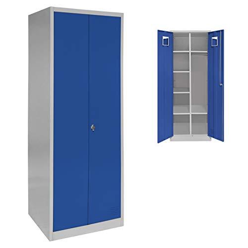 Spind Garderobenschrank Doppelspind Metallschrank 180 x 60 x 50 mit Flügeltüren, Einlegeböden und Kleiderstange, Farbe:Grau-Dunkelblau