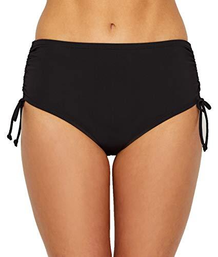 24th & Ocean Women's Standard High Waist Side Tie Hipster Bikini Swimsuit Bottom, Black//Solid, Large