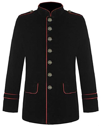 Men's Gothic Steampunk Red Piping Jacket Black Parade Military Marching Band Drummer Jacket Goth VTG Style (Large, Black)