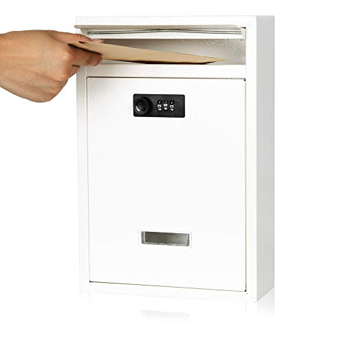 KYODOLED Locking Wall Mount Mailbox,Mail Boxes Outdoor with Combination Lock,Security Key Drop Box,12.59Hx 8.46Lx 3.35W Inches,White Large