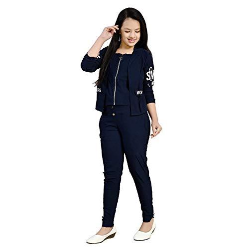 CUPIDVIBE Girls' Cotton Lycra 2 PCs Maxi Dress (Navy)