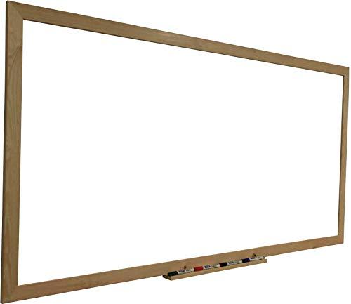 Pizarra blanca magnética con marco madera natural de pino y amplia bandeja estante 128 x 90 cm. Superficie para escritura con rotuladores tipo velleda para oficinas, aulas, decoración, infantil.