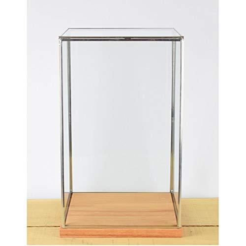 EMH handgemaakte glazen en zilveren metalen frame vitrine doos met houten voet 42 cm