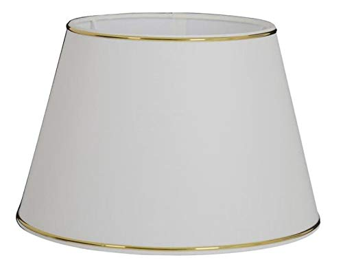 Gro/ßer Ersatz Lampenschirm 50cm Stoffschirm wei/ß Goldring Gold Schirm Aufnahme f Fassung E27 Goldkante gold