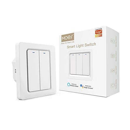 MOES Interruptor de luz inteligente con app WiFi Smart Life/Tuya, mando a distancia, funciona con Alexa Google Home para control por voz