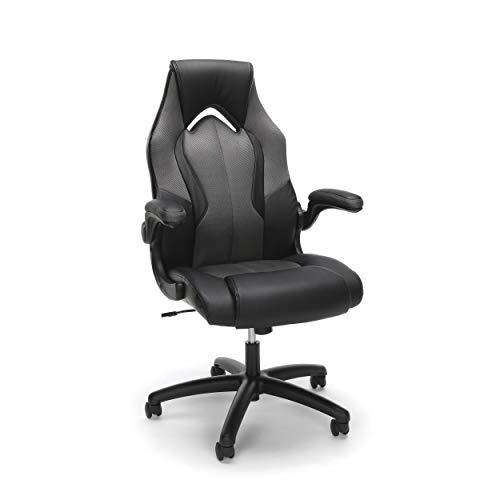Essentials by OFM ESS-3086-GRY Ess-3086 High-Back Racing Style Bonded Leather Gaming Chair, Gray (Renewed) chair gaming gray