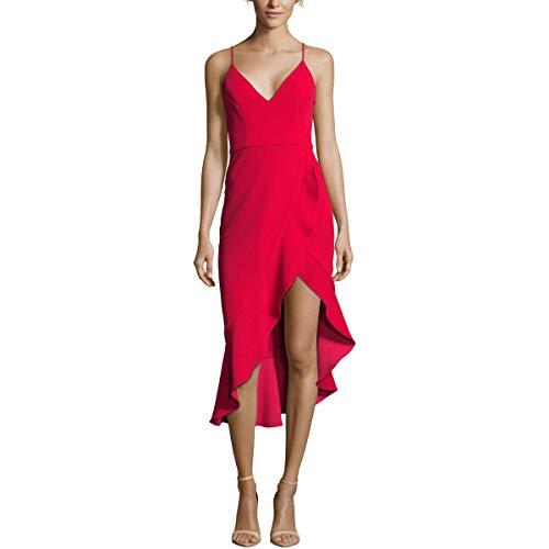 Xscape Womens Petites Ruffled Hi-Low Midi Dress Red 8P