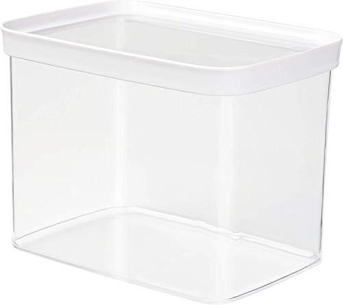 Emsa 513563 Stapelbare Vorratsdose für Trockenvorräte, 100 % Keimfrei, Volumen 4.4 Liter, Rechteckig, Weiß/Transparent, Optima