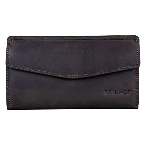 STILORD 'Gloria' Billetera de Piel Mujer RFID Bloqueo Vintage Cartera para Señora Monedero con 14 Tarjetas Billetes y Monedas con Caja de Regalo, Color:marrón Oscuro