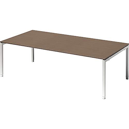 BISLEY Cito Chefarbeitsplatz/Konferenztisch, 650-850 mm höheneinstellbares U, H 19 x B 2400 x T 1200 mm, Metall, Wn396 Dekor Nußbaum, Gestell...