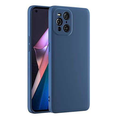Cresee kompatibel mit Oppo Find X3 Pro 5G Hülle Hülle, Silikon Handyhülle mit [Kamera Schutz] [Faser-Innenraum] Anti-Scratch Dünn Schutzhülle Stoßfest Cover für Find X3 Pro, Blau