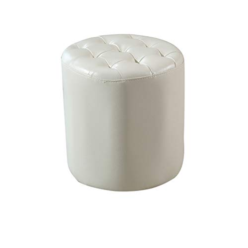 Fashion Simple Small Round Upholstered Footstool Ottoman,Leather Pouffe Coffee Table Stool HENGXIAO (Color : A)