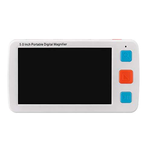 Vosarea Tragbare Digital Video Magnifier Elektronische Lesehilfe Leselupe Sehhilfe für Sehbehinderte und Senioren 5,0 Zoll (Weiß,EU Stecker)