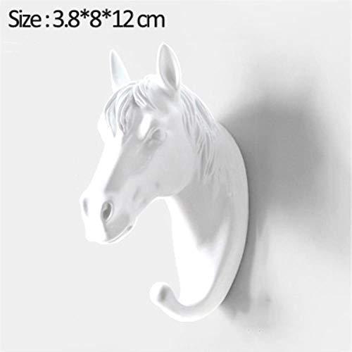 KWHY Haak Muurhaak Woonaccessoires Accessoires Amerikaanse Ophanghaak Muurhaak Decoratieve Haak Creatieve Dierenhaken, Wit-paard